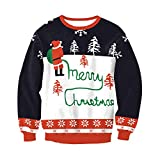 Hamrank Lady's Ugly Christmas Sweater Long Sleeve Crewneck Knitted Oversized Pullover Sweater White S