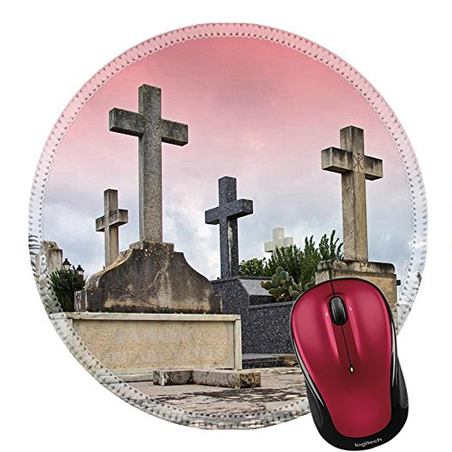 Liili Round Mouse Pad Natural Rubber Mousepad Crosses in the catholic cemetery of Alcudia Majorca Balearic Islands B Photo 11119964 ()