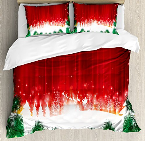 (Ambesonne Christmas Duvet Cover Set King Size, Blurry Xmas Carol Background with Santa Fir Rudolph Annual Festival Theme Image, A Decorative 3 Piece Bedding Set with 2 Pillow Shams, Red Green White)