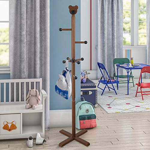 Kids Children Coat Rack, 58'' Tall Entryway Hall Tree Coat Tree Stand Coat Hanger Clothes Tree for Jacket,Hat,Clothes,Purse,Scarves,Handbags,Umbrella-(8 Hooks,Brown)