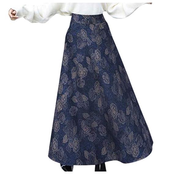 Shenye Falda Larga de Invierno para Mujer, Falda de Cintura Alta ...