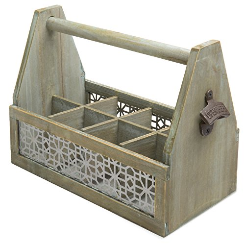 - Rustic Wood 8-Bottle Beer Storage Crate with Vintage-Style Decorative Bottle Opener