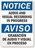 """Notice: Audio And Visual Recording In Progress, Aviso Audio Y Grabacio Vissual En Label, 5"""" x 3.5"""""""