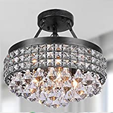 George Versailles 4-light Crystal Semi-flush Mount Chandelier with Antique Black Iron Shade