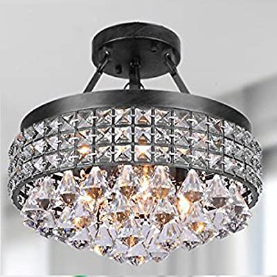 Diamond Life 4-light Antique Black Round Metal Shade Crystal Chandelier Semi-flush Mount Ceiling Fixture