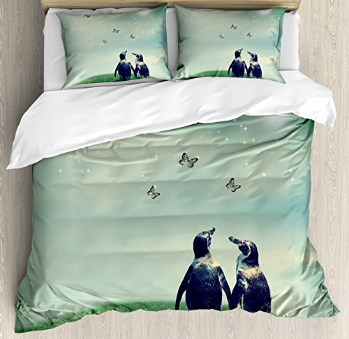 Ambesonne Surrealistic Duvet Cover Set King Size, Penguin Couple on Grass Warming up with Sun Butterfly Hope Theme, Decorative 3 Piece Bedding Set with 2 Pillow Shams, Hunter and Almond Green (Almond Cover Duvet)