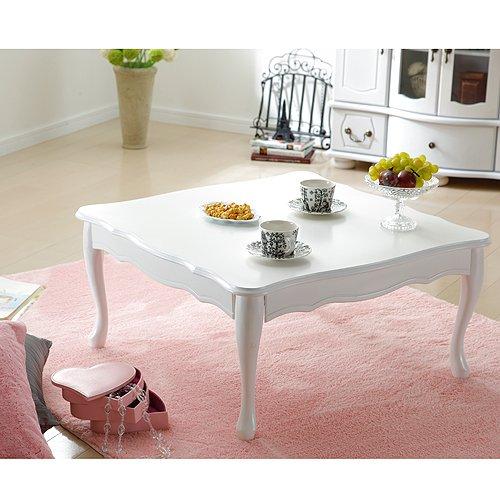 折れ脚式猫脚テーブル Lisana リサナ 75×75cm テーブル ローテーブル 姫系 家具