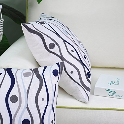 CaliTime Pack of 2 Soft Canvas Throw Pillow Covers Cases for Couch Sofa Home Decor, Abstract Fish Geometric Waves Dots, 18 X 18 Inches