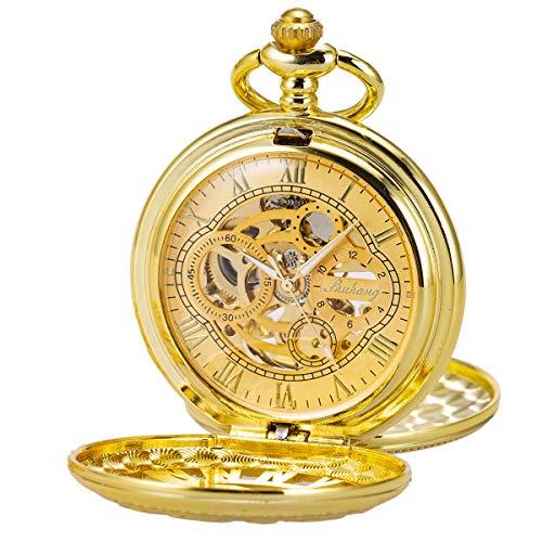 Pocket Watch Skeleton Mechanical Double Case Hand-Wind SIBOSUN Gold Roman Numerals Antique Mens