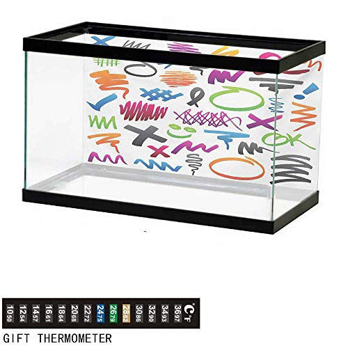 (wwwhsl Aquarium Background,Doodle,Pencil Drawings with Vibrant Colors Lines Marker Strokes Circles and Other Shapes,Multicolor Fish Tank Backdrop 36