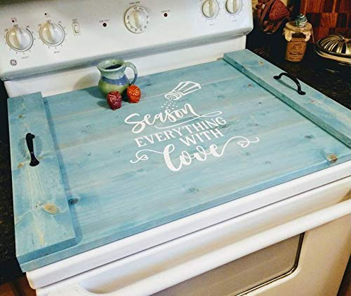 Vintage Primitive Country Farmhouse Rustic Noodle Board Stove Cover, Oven Cover, Serving Tray, Decor, Asst Colors (Stove Top Cutting Board)