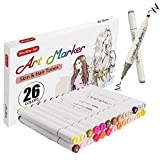 Shuttle Art 26 Colors Skin & Hair Tones Dual Tip Art Marker, Permanent Marker Pens Double Ended with Fine Bullet and Chisel Point Tips Perfect for Face, Flesh, Manga, Portrait, Sketch