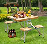 Fold Up Wooden Table and Chairs Outdoor Portable Folding Camping Wooden Picnic Table set With Case Seat