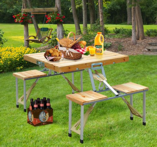 Outdoor Portable Folding Camping Wooden Picnic Table set With Case Seat