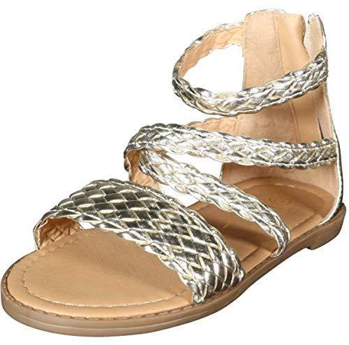 Nicole Miller New York Toddler Girls Braided Gladiator Sandal, Pale Gold, 9 M US -