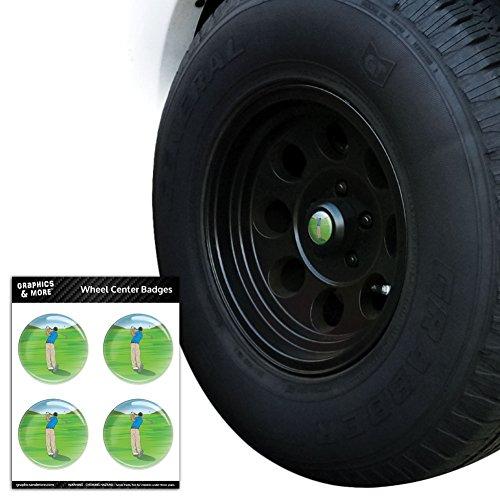 Golfer Sports Cap - Golf Golfing Golfer Sport Tire Wheel Center Cap Resin-Topped Badges Stickers - 2.0
