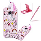 Soft TPU Case for Samsung Galaxy S8,3D Flexible Rubber Case for Samsung Galaxy S8,Herzzer Premium Stylish Pink Unicorn Printed Slim Fit Shockproof Scratch Resist Silicone Bumper Back Cover