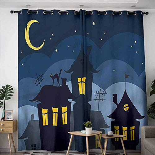 XXANS Indoor/Outdoor Curtains,Halloween,Cartoon Town with Cat,Curtains for Living Room,W108x108L -