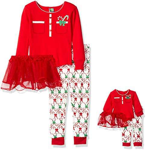 Dollie & Me Big Girls' Candy Cane Button Front Tutu Snugfit Sleepwear Set, Red, 10 (Candy Cane Outfit)