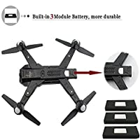 Inkpot RC Drone Foldable WiFi FPV VR Quacopter with 120° Wide Angle 720P HD Camera Quadcopter Drone in 3 Batteries – Altitude Hold, One Key Take Off/Landing, Gravity Sensor, Flight Path from Inkpot