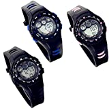 Lancardo Digital Runing Sports Watch With Red Display For Children Girls Boys (Pack Of 3)