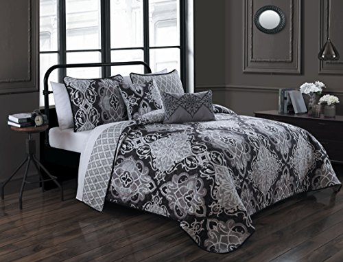 Avondale Manor Portofino 5-Piece Quilt Set, Queen, Black (Portofino Comforter Set)