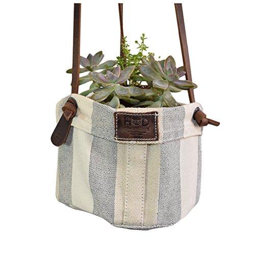 Artisan Canvas Hanging Planter Basket for Home/Studio/Office Decor, Indoor Outdoor Decorations Plant Holder Handmade by Hide & Drink :: Rojo Moreno (Terra Cotta Hanging Basket)
