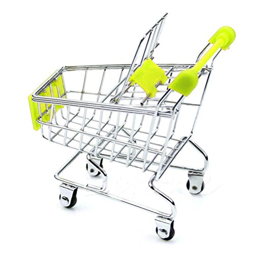 SMTSMT Supermarket Handcart Shopping Utility Cart Mode Storage Basket Desk-Green (4 Dollars Toys)