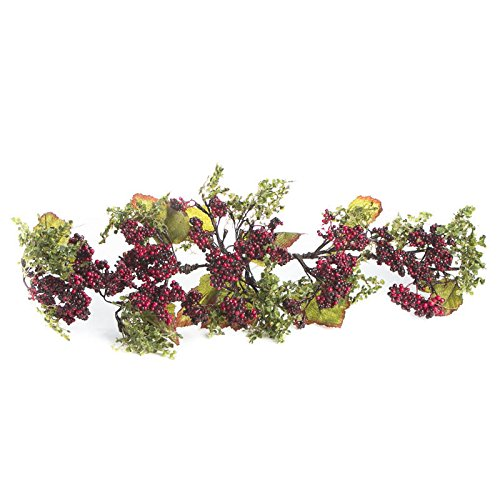 Factory Direct Craft Red and Burgundy Artificial Berry Cluster and Leaf Swag for Displaying, Crafting and Embellishing ()