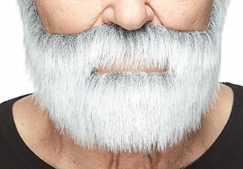 Fake Grey Beard (Mustaches Self Adhesive, Novelty, Nobleman Fake Beard, False Facial Hair, Costume Accessory for Adults, Gray with White)