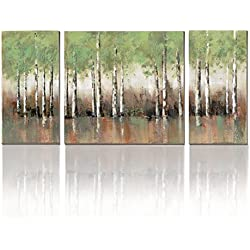 Spring Green Tree Birch Forest Prints Wall Art Cubism-Canvas Print Modern 3 Panels Canvas Prints for Living Room Home Decor,Stretched- Ready to Hang!