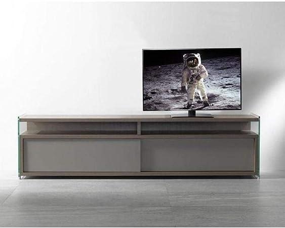 PEZZANI - Mueble para TV TALAC de Nogal con 2 Puertas correderas, Color Gris: Amazon.es: Hogar