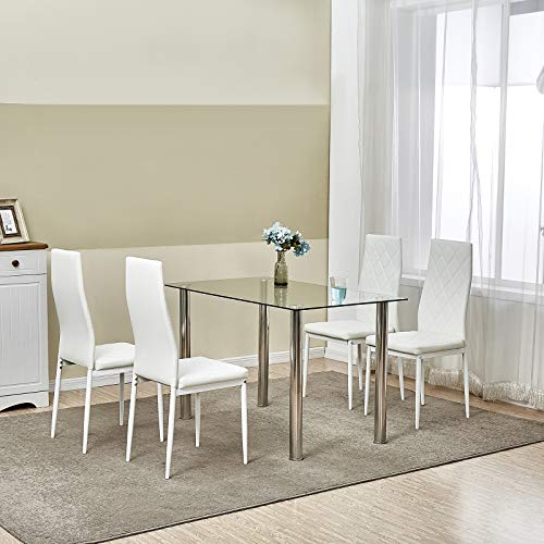 LEMAIJIAJU Dining Table Set Kitchen Furniture with 4 Dining Chairs (White)