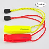 A Set of 5 Extra Loud Whistles for Camping Hiking Hunting Outdoors Sports and Emergency Situations, Sturdy but Light Aluminium Key Chain Signals of Different Colors – by Homey Product