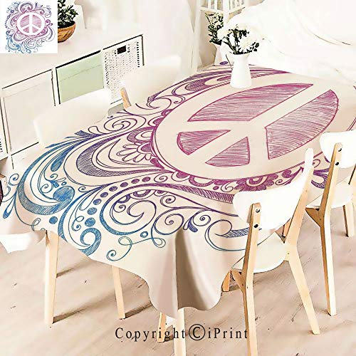 - Modern Decor Tablecloth, Hand Drawn Style Peace Sign and,Graphic Fusion Artwork, Dining Room Kitchen Rectangular Table Cover,W55 xL71,Pink Blue White