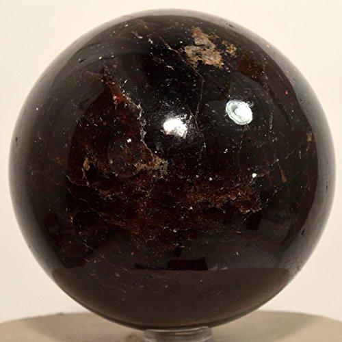 Large 2.8'' 1.9lb Deep Red Garnet Sphere Natural Sparkling Almandine Crystal Decor Ball Polished Mineral Stone - India + Plastic Stand by HQRP-Crystal