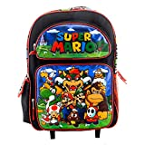 Super Mario Backpack Book Bag Travel Everyday bag pouch with Stationary Supplies (16 Inch Rolling)