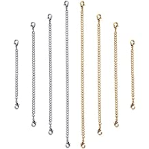 Outus Stainless Steel Necklace Bracelet Extender Chain Set, 8 Pieces (Gold, Silver)