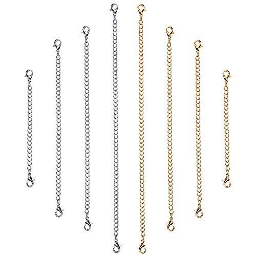 outus-stainless-steel-necklace-bracelet-extender-chain-set-8-pieces-gold-silver
