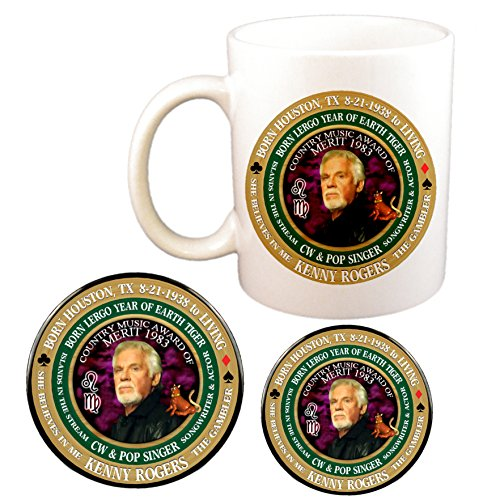 Kenny Rogers Country Singer Cup + Magnet + Pin, Astrology Leo Virgo Cusp Zodiac Earth -