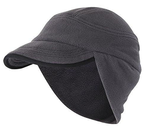 (Home Prefer Unisex Winter Skull Cap Outdoor Windproof Polar Fleece Earflap Hat with Visor Dark Gray)