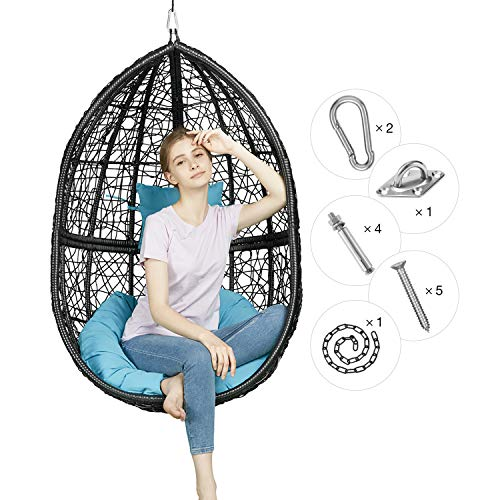 Greenstell Rattan Wicker Egg Hammock Chair with Hanging Kits,Weather Fastness Hanging Chair with Comfortable Blue Cushion and Pillow,Basket Swing Chair for Indoor,Outdoor Bedroom,Patio,Garden (Black) (Rattan Swings Chair)
