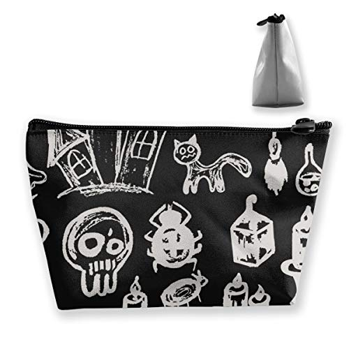 Halloween Pumpkin,coffin,skull,candle Pattern Travel Makeup Bag Trapezoidal Storage Bags -