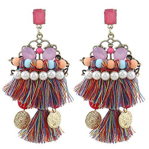 - UNSHOU Earrings Girls Jewelry Women's Fashion Vintage Sweet Personality Earrings Pop Bohemian Jeweled Tassel Earrings Beauty (Multicolor, A Pair)