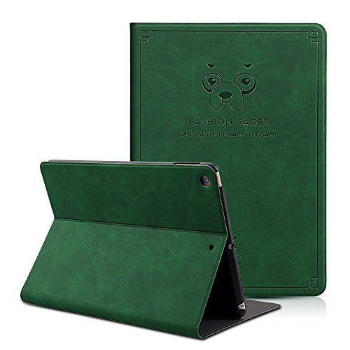 CHINFAI iPad 9.7 2018 / 2017 Case, Slim Smart Case Soft PU Leather Folding Stand Folio Cover with Auto Wake / Sleep for iPad 2018 / 2017 Model A1822 A1893 (Dark green) by CHINFAI