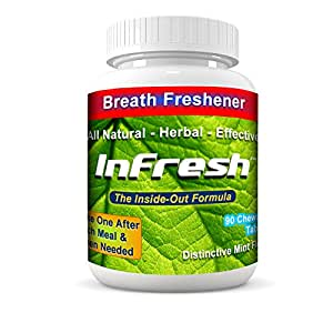 InFresh All-Natural Bad Breath Cure - Chewable tablets for instant inside-out freshness. Our patented herbal, formula contains parsley, mint, & deodorizing herbs. 30-day supply, 90 tablets mint flavor