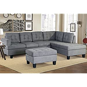 Merax Sofa 3-Piece Sectional Sofa with Chaise and Ottoman Living Room Furniture,Grey