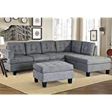 Merax. Sofa 3-Piece Sectional Sofa Chaise Ottoman Living Room Furniture,Grey (Gray.)