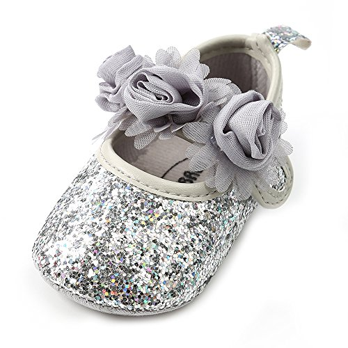 Antheron Baby Girls Mary Jane Flats Soft Sole Infant Moccasins Floral Sparkly Toddler Princess Dress Shoes(Silver,12-18 Month)