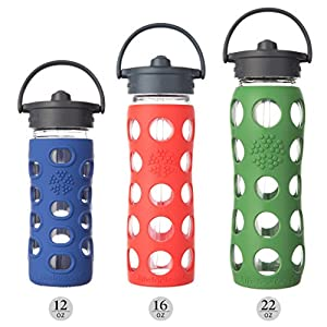 Lifefactory 16-Ounce BPA-Free Glass Water Bottle with Straw Cap and Silicone Sleeve, Coral